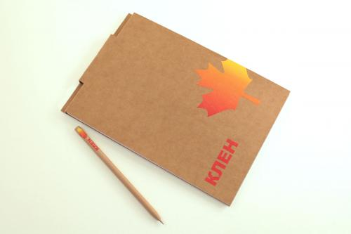 экоблокнот с креплением для ручки и ручкой